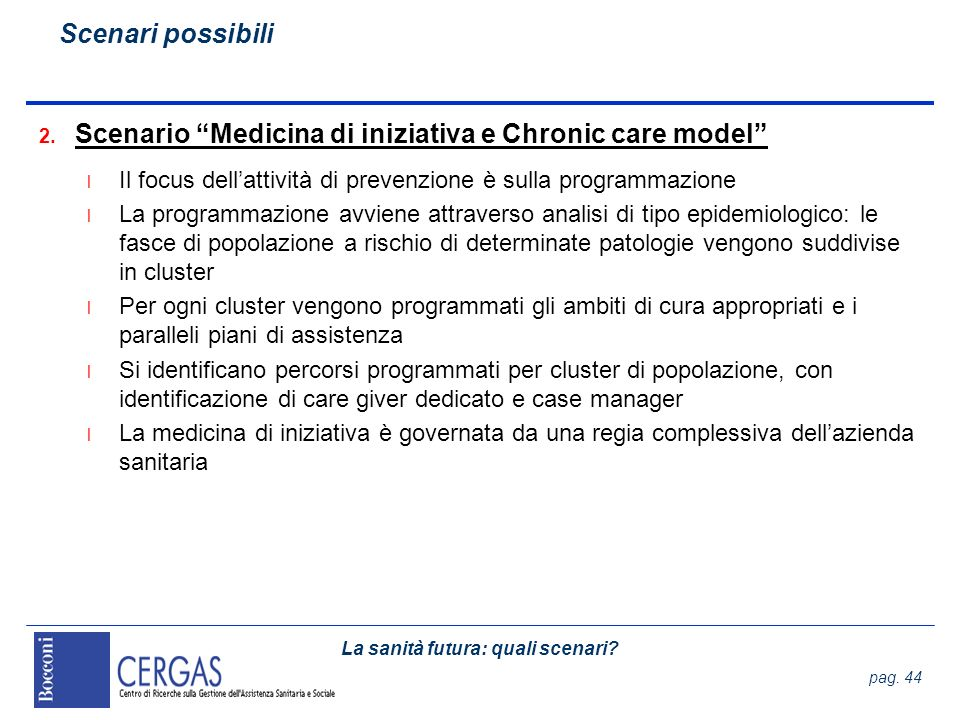 Scenario Medicina di iniziativa e Chronic care model