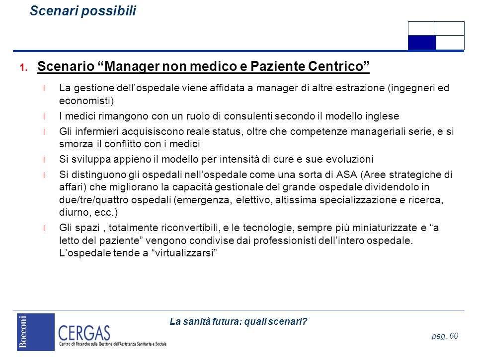Scenario Manager non medico e Paziente Centrico