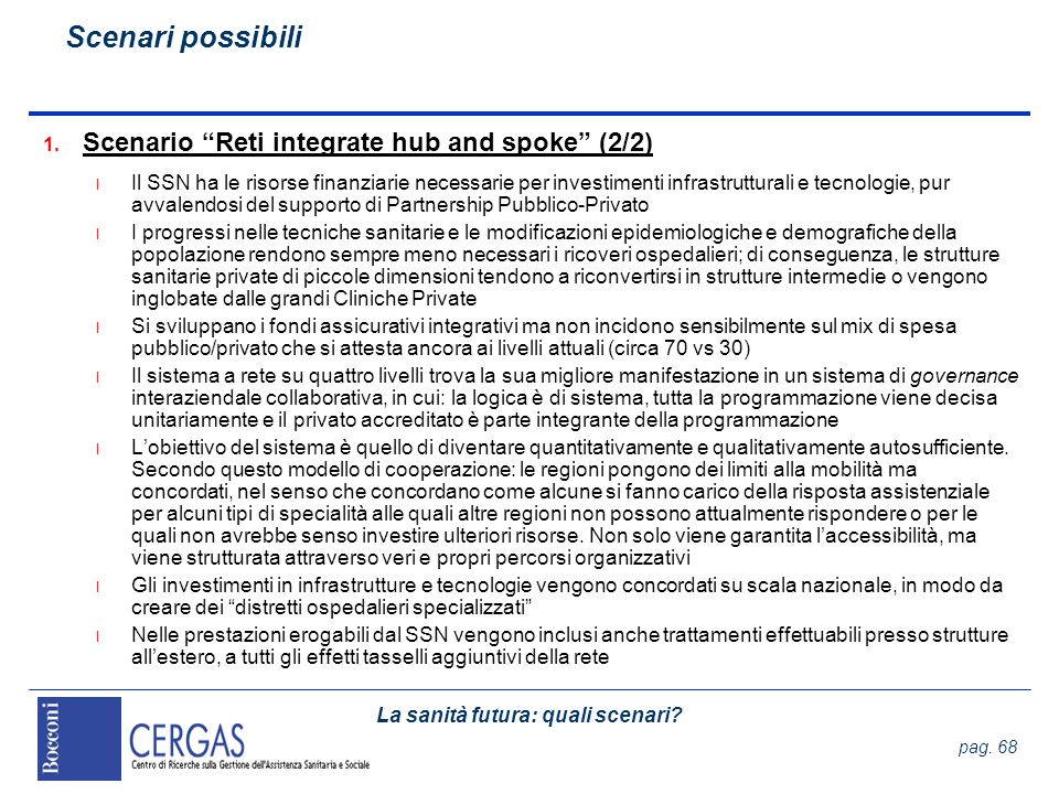 Scenari possibili Scenario Reti integrate hub and spoke (2/2)