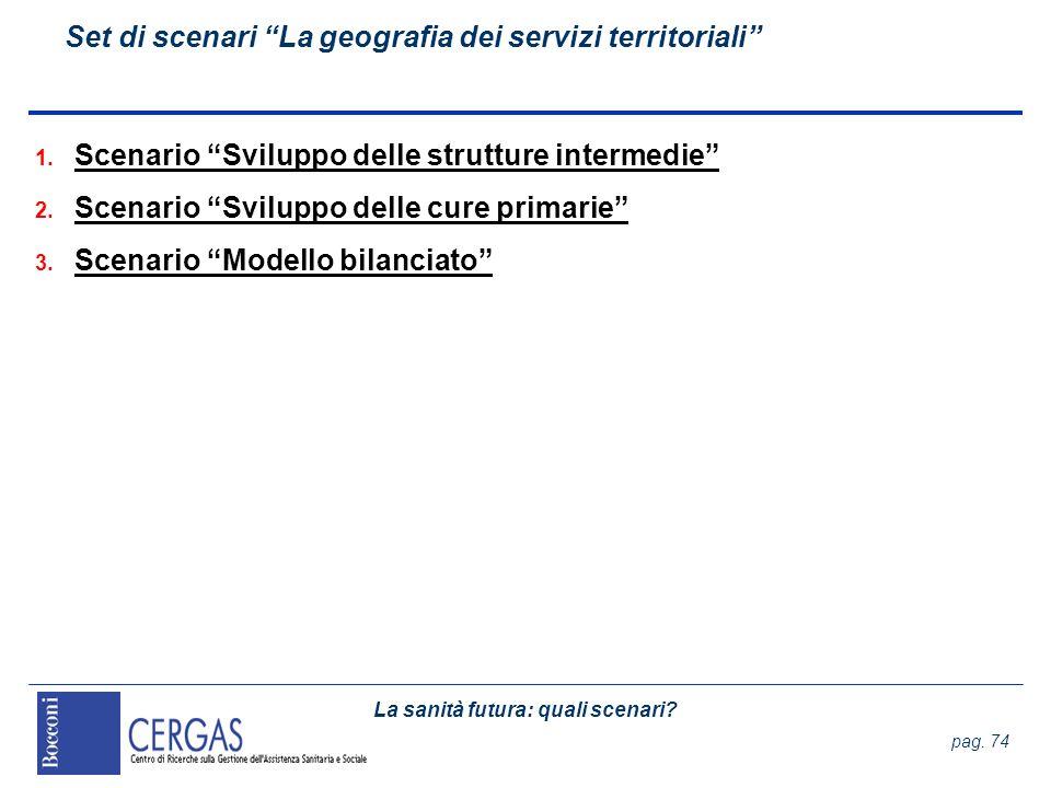 Set di scenari La geografia dei servizi territoriali