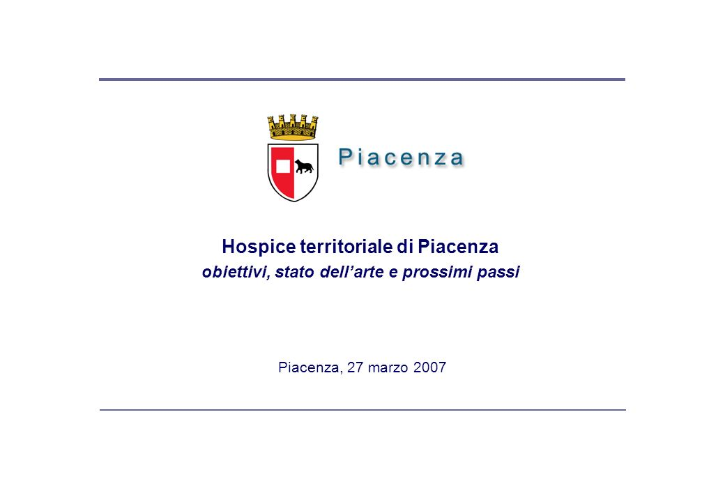 L'Hospice territoriale dell'area piacentina elementi base dal piano strategico 2020
