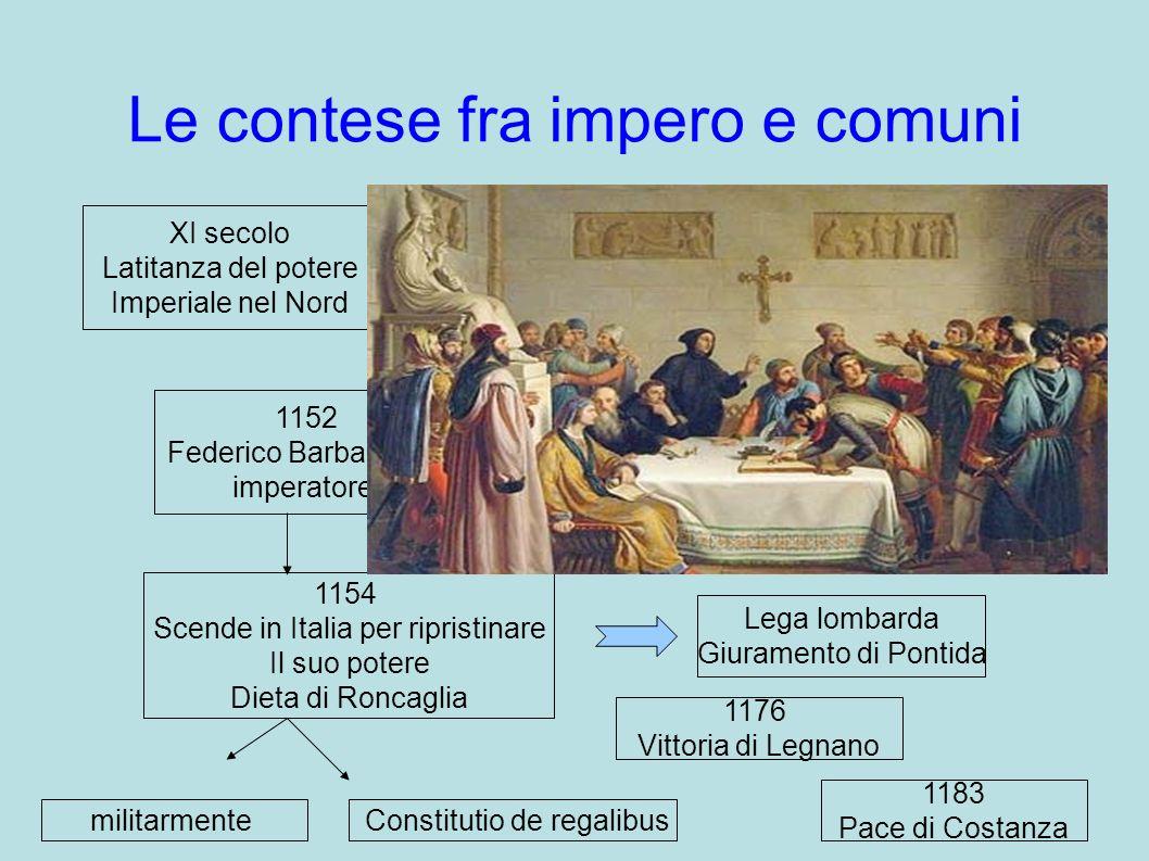 Le contese fra impero e comuni