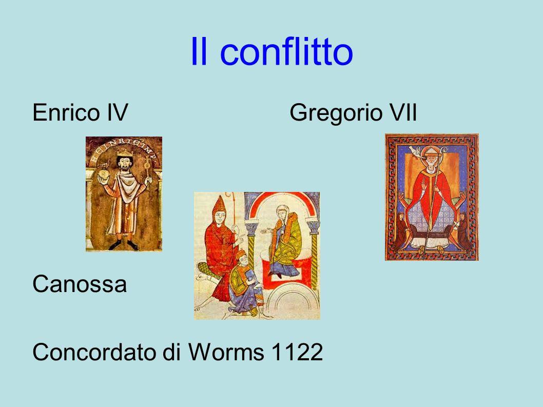 Il conflitto Enrico IV Gregorio VII Canossa Concordato di Worms 1122