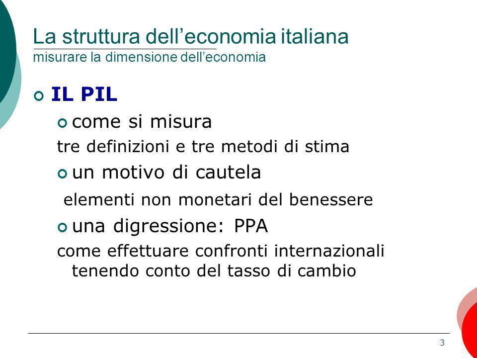 La struttura dell'economia italiana misurare la dimensione dell'economia