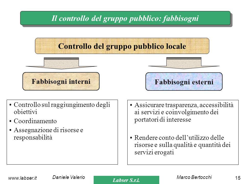 Il controllo del gruppo pubblico: fabbisogni