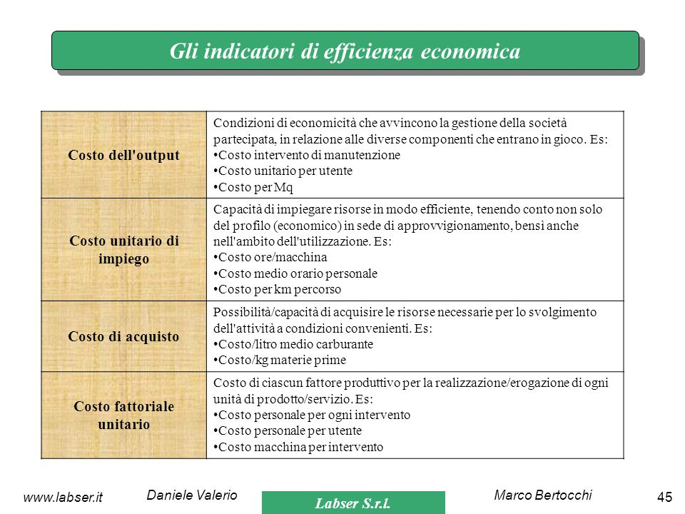 Gli indicatori di efficienza economica