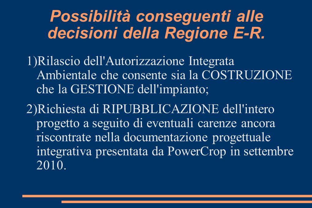 Possibilità conseguenti alle decisioni della Regione E-R.