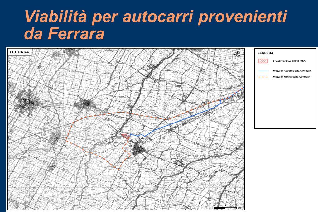 Viabilità per autocarri provenienti da Ferrara
