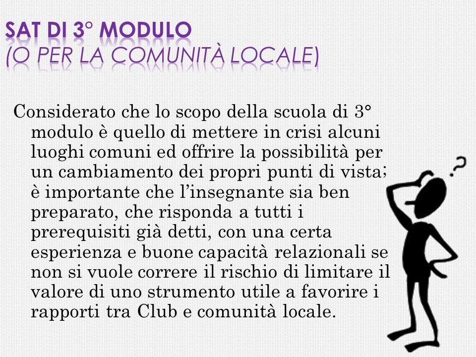 SAT di 3° Modulo (o per la comunità locale)