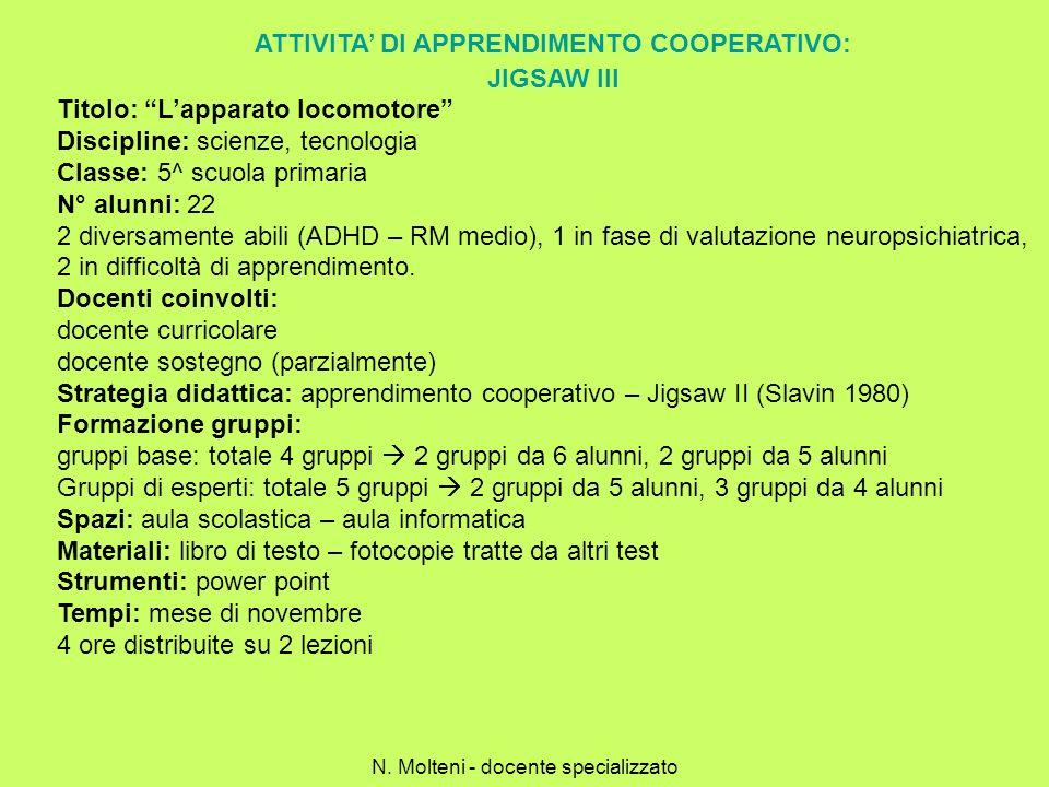 ATTIVITA' DI APPRENDIMENTO COOPERATIVO: JIGSAW III
