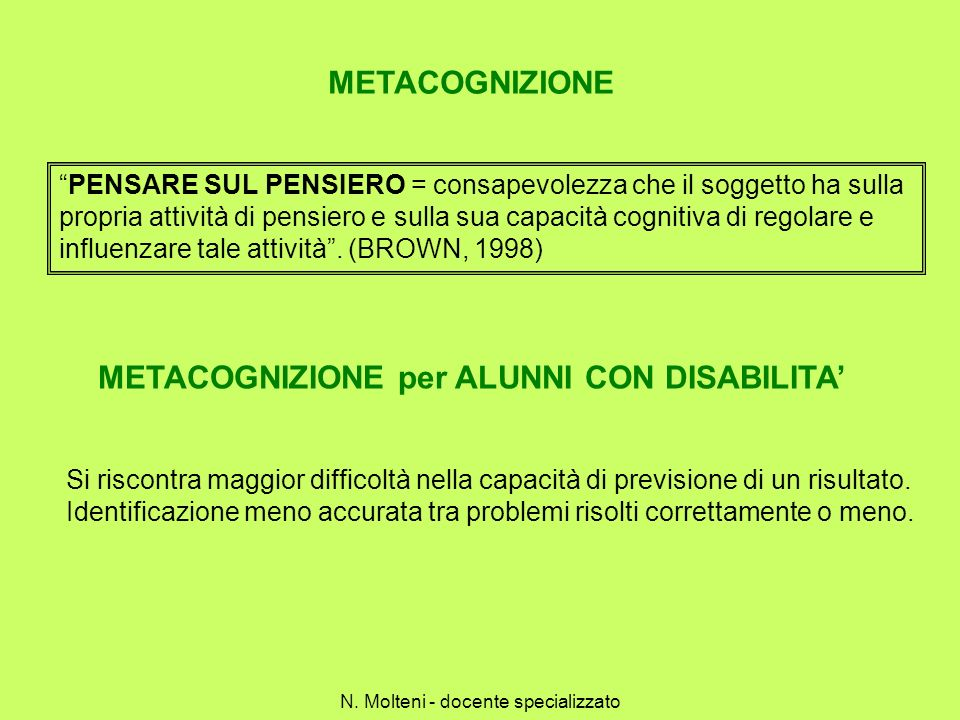 METACOGNIZIONE per ALUNNI CON DISABILITA'