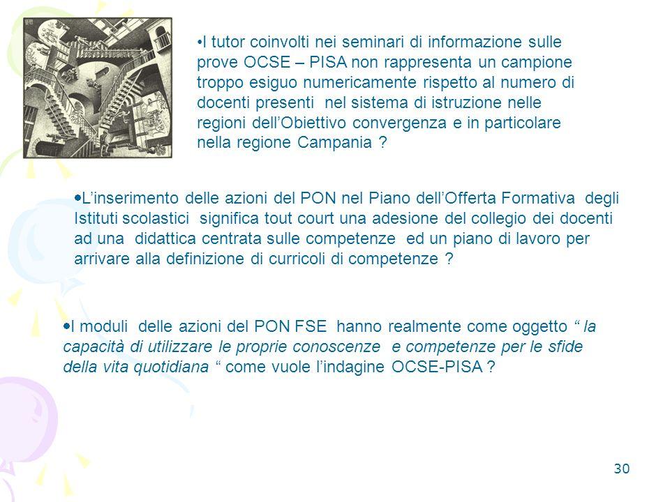 I tutor coinvolti nei seminari di informazione sulle prove OCSE – PISA non rappresenta un campione troppo esiguo numericamente rispetto al numero di docenti presenti nel sistema di istruzione nelle regioni dell'Obiettivo convergenza e in particolare nella regione Campania
