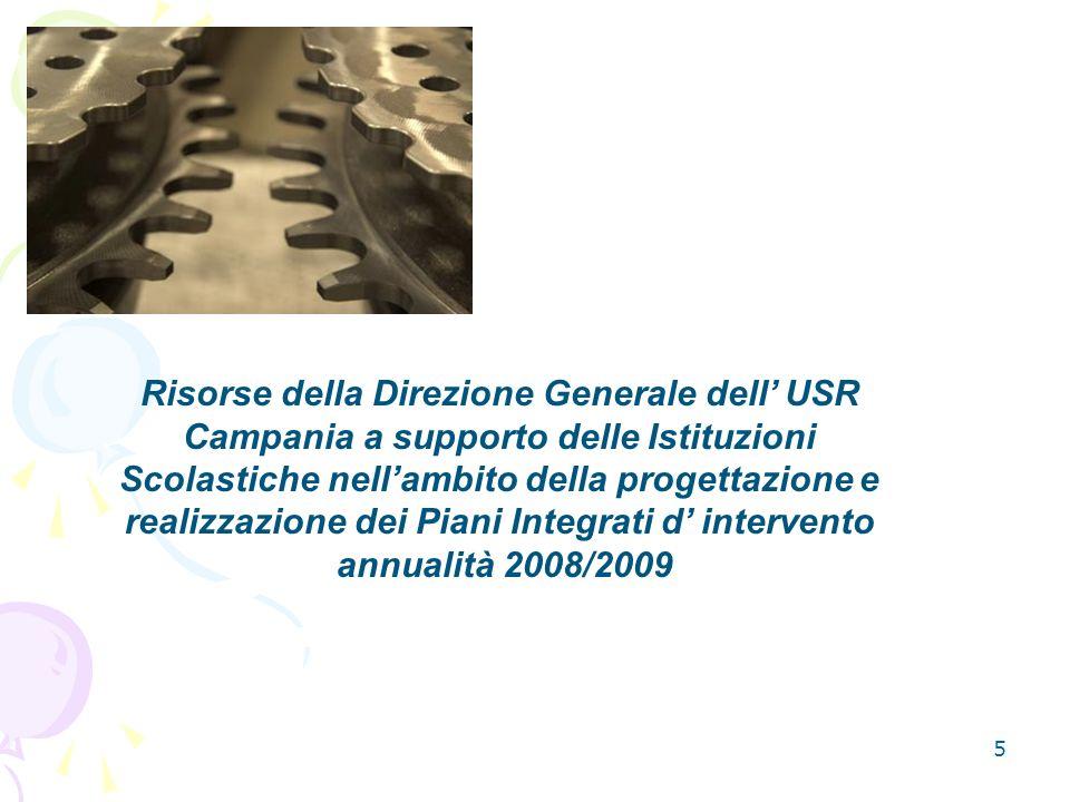 Risorse della Direzione Generale dell' USR Campania a supporto delle Istituzioni Scolastiche nell'ambito della progettazione e realizzazione dei Piani Integrati d' intervento