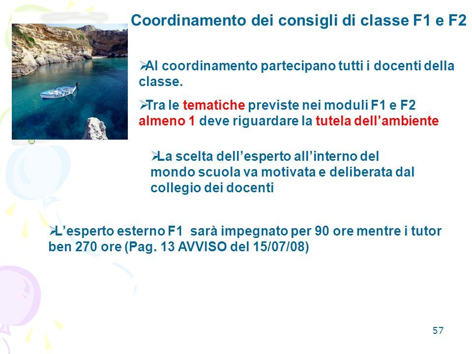 Coordinamento dei consigli di classe F1 e F2