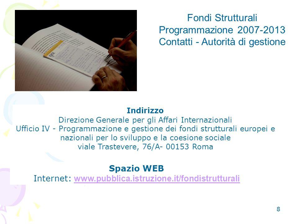 Internet: www.pubblica.istruzione.it/fondistrutturali