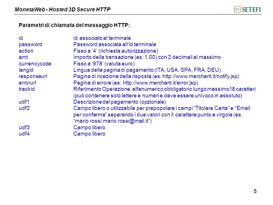 Parametri di chiamata del messaggio HTTP: