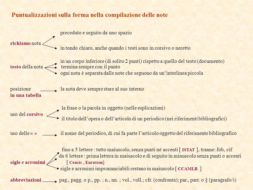Puntualizzazioni sulla forma nella compilazione delle note