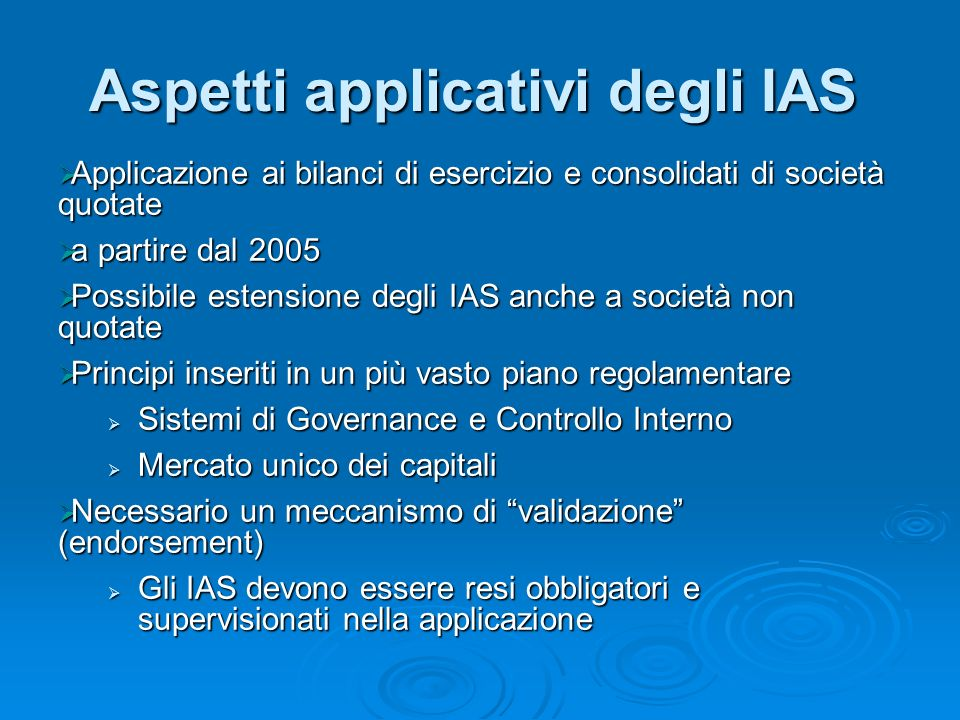 Aspetti applicativi degli IAS