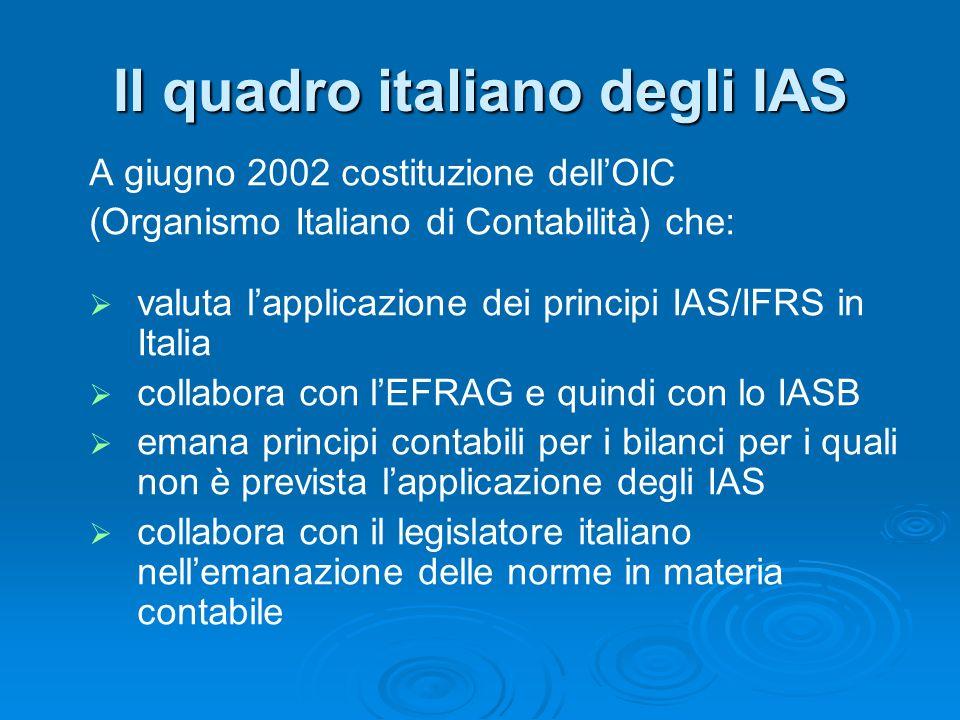 Il quadro italiano degli IAS
