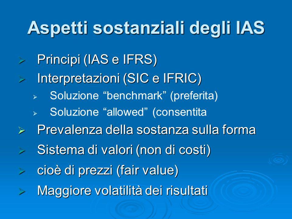 Aspetti sostanziali degli IAS