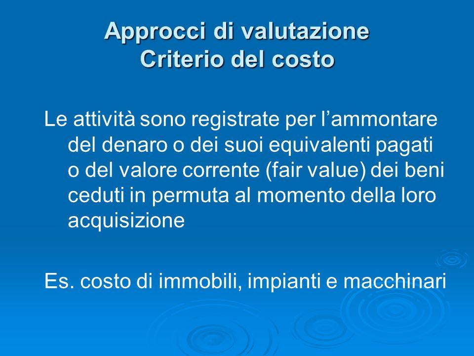 Approcci di valutazione Criterio del costo