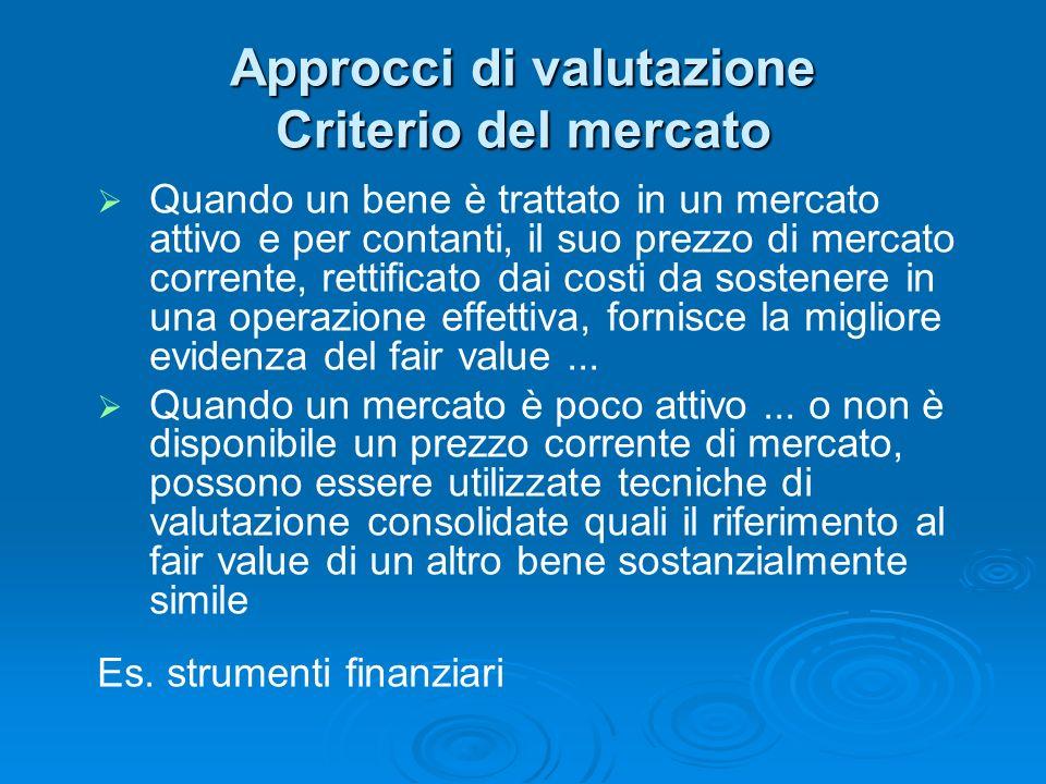Approcci di valutazione Criterio del mercato