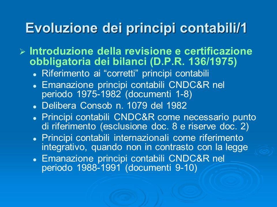 Evoluzione dei principi contabili/1