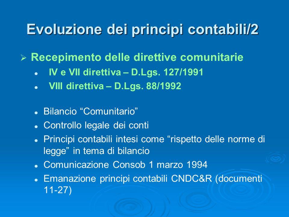 Evoluzione dei principi contabili/2