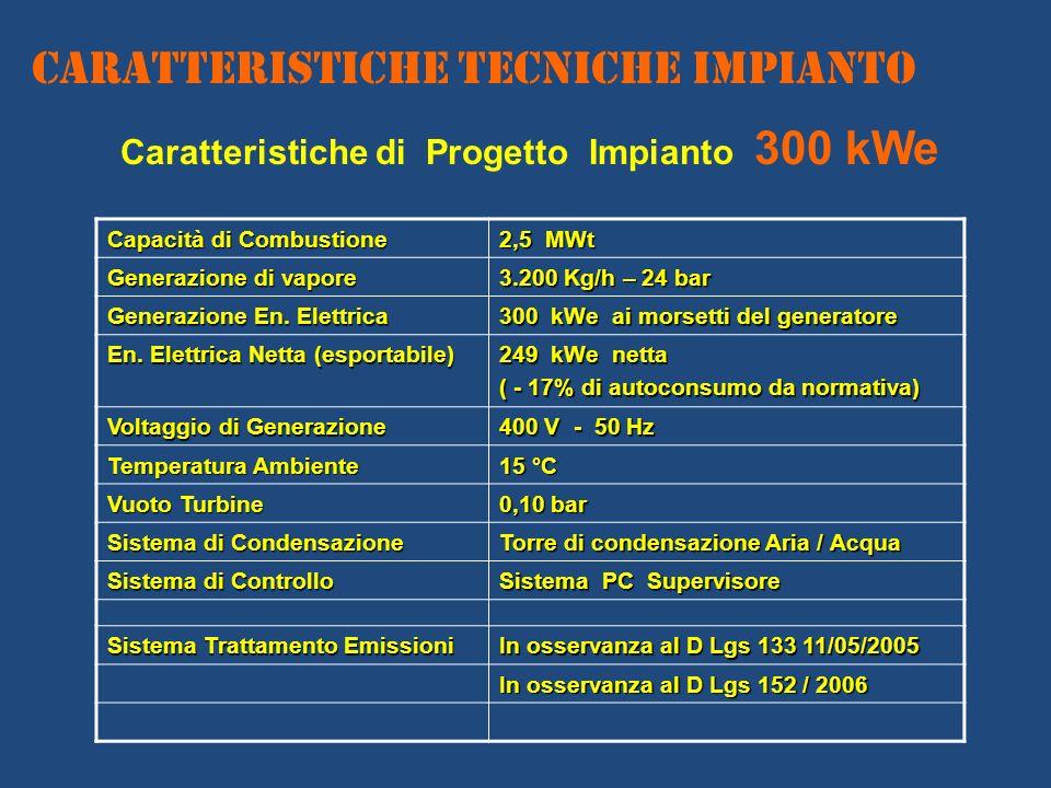 Caratteristiche di Progetto Impianto 300 kWe