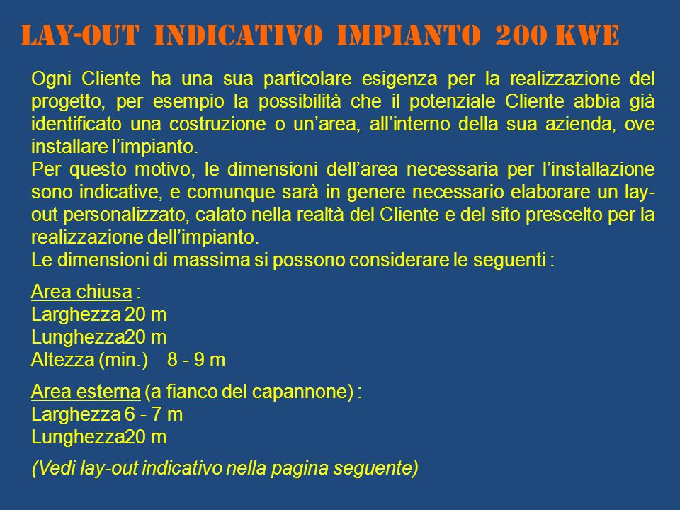 LAY-OUT INDICATIVO IMPIANTO 200 KWe