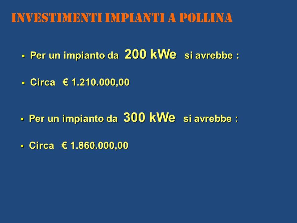 Investimenti IMPIANTI A POLLINA