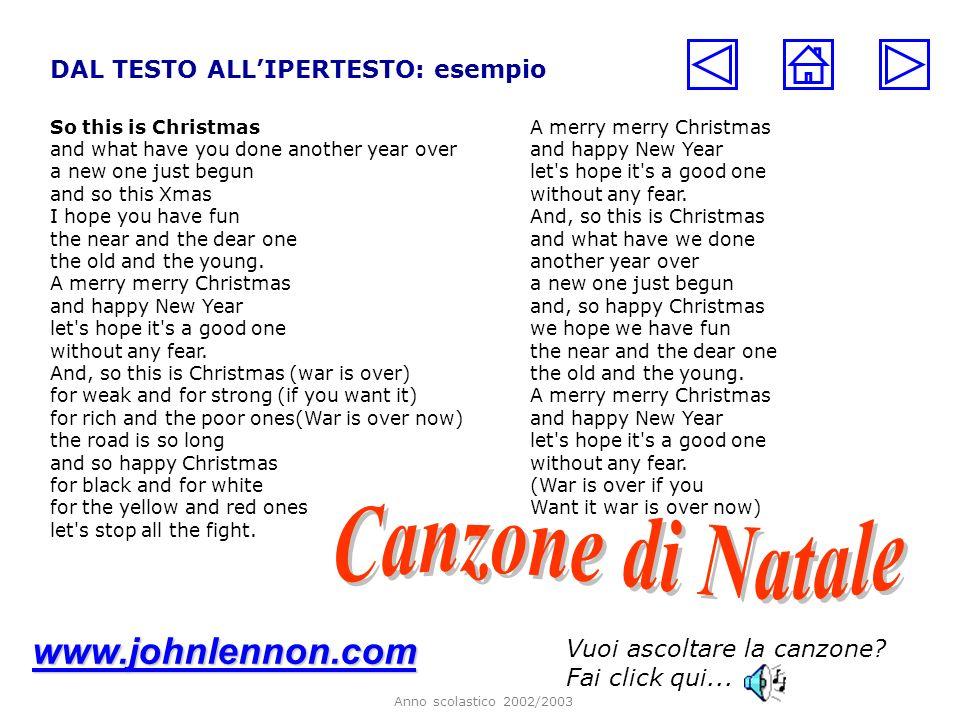 Canzone di Natale www.johnlennon.com DAL TESTO ALL'IPERTESTO: esempio