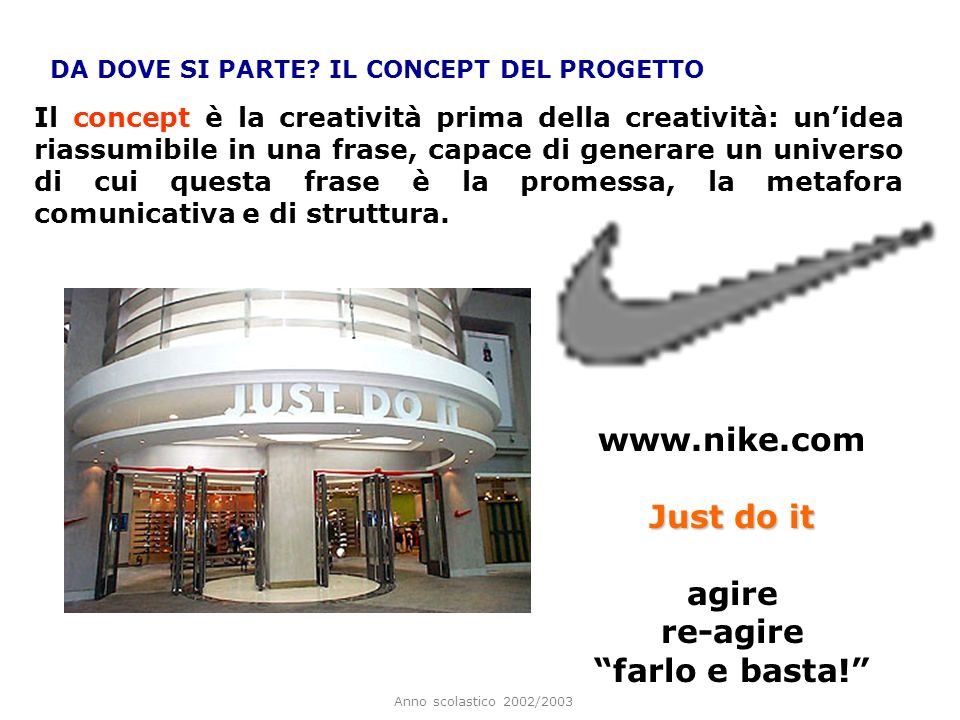 www.nike.com Just do it agire re-agire farlo e basta!