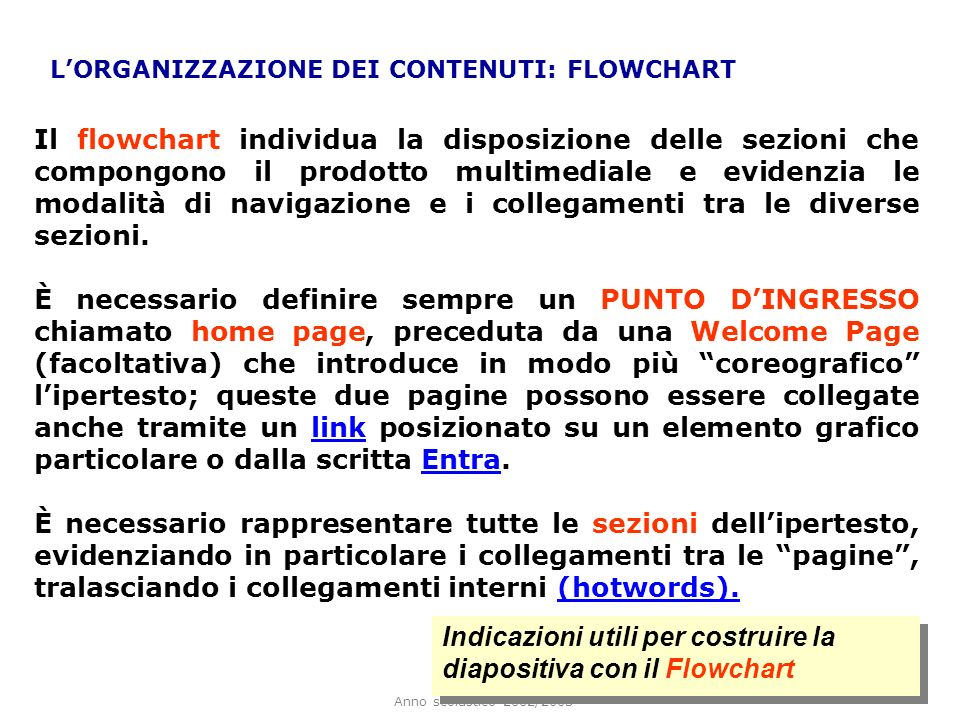 Indicazioni utili per costruire la diapositiva con il Flowchart