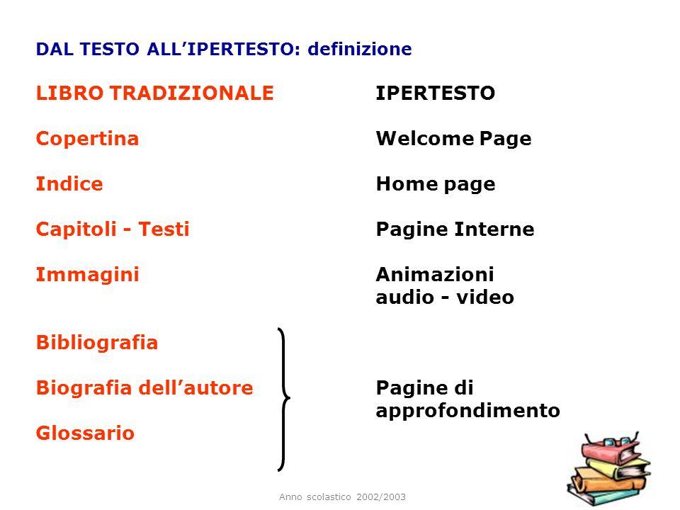 LIBRO TRADIZIONALE IPERTESTO Copertina Welcome Page Indice Home page