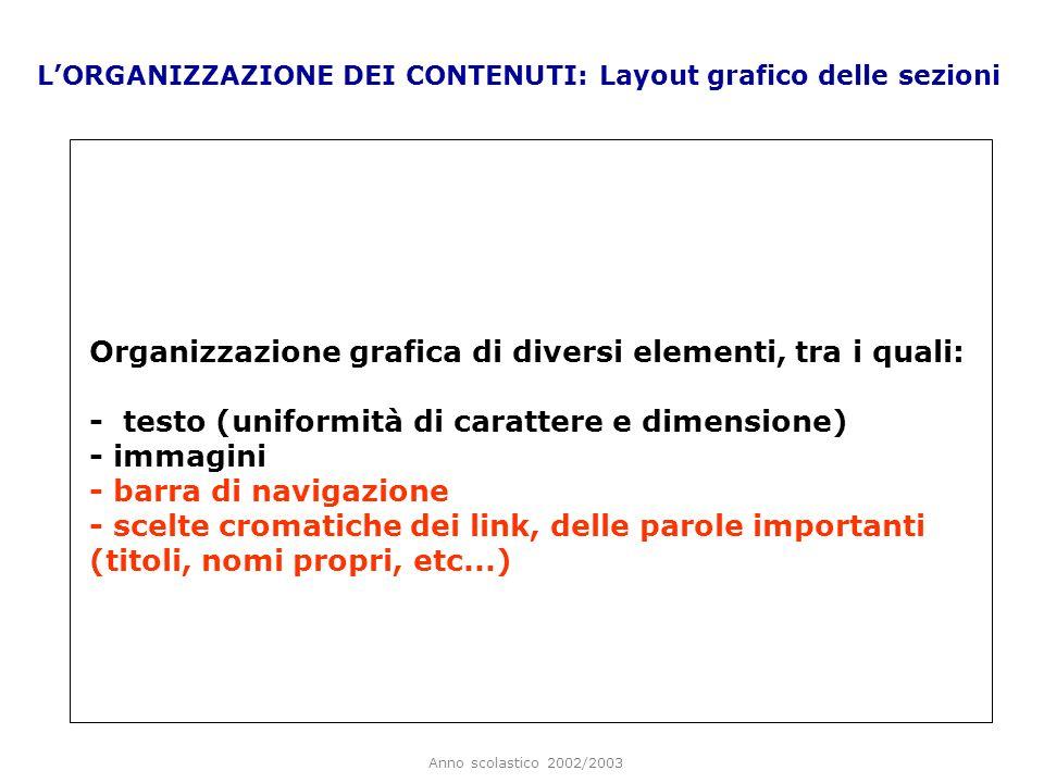 Organizzazione grafica di diversi elementi, tra i quali: