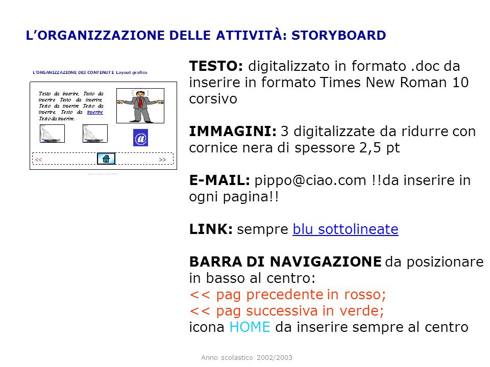 E-MAIL: pippo@ciao.com !!da inserire in ogni pagina!!