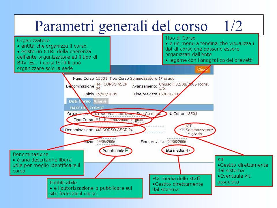 Parametri generali del corso 1/2