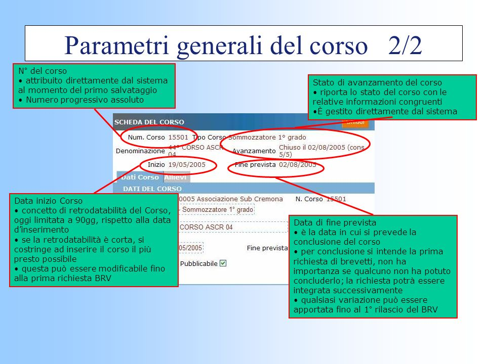 Parametri generali del corso 2/2