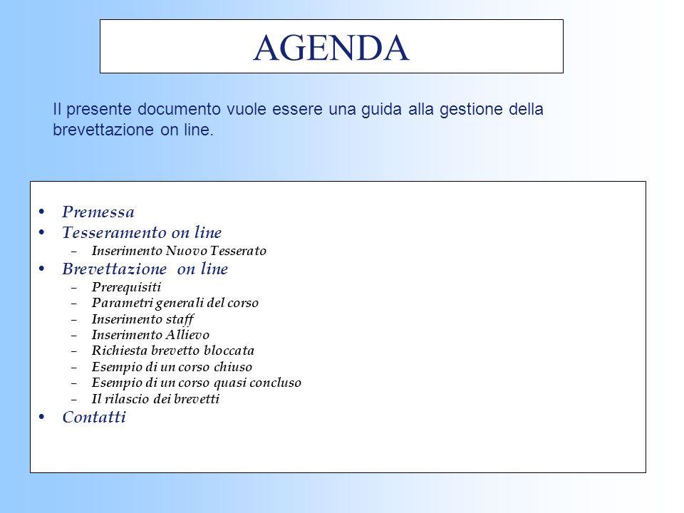 AGENDA Il presente documento vuole essere una guida alla gestione della brevettazione on line. Premessa.