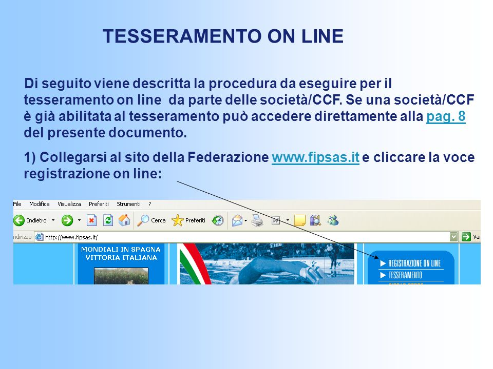TESSERAMENTO ON LINE