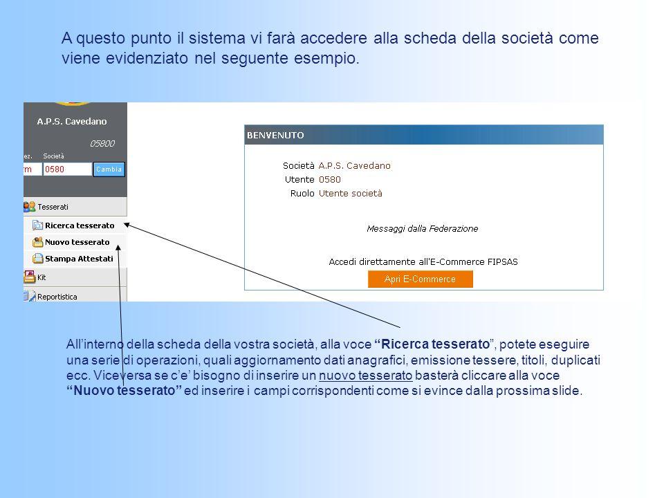 A questo punto il sistema vi farà accedere alla scheda della società come viene evidenziato nel seguente esempio.