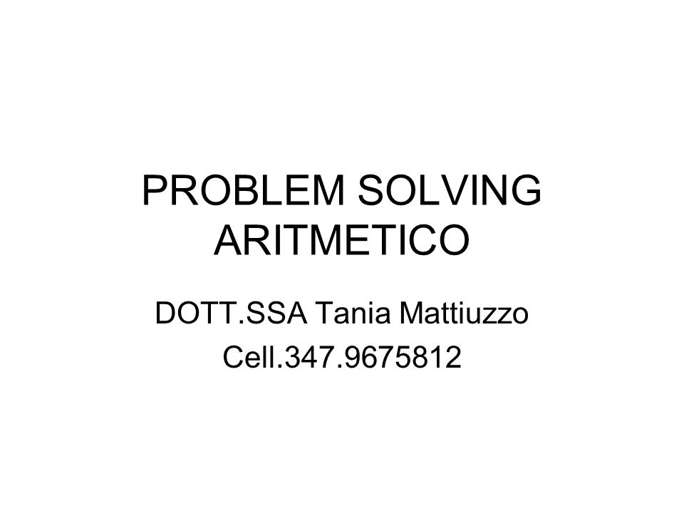 PROBLEM SOLVING ARITMETICO