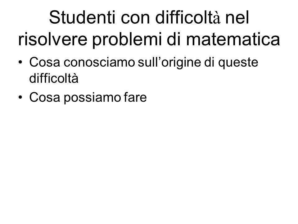 Studenti con difficoltà nel risolvere problemi di matematica