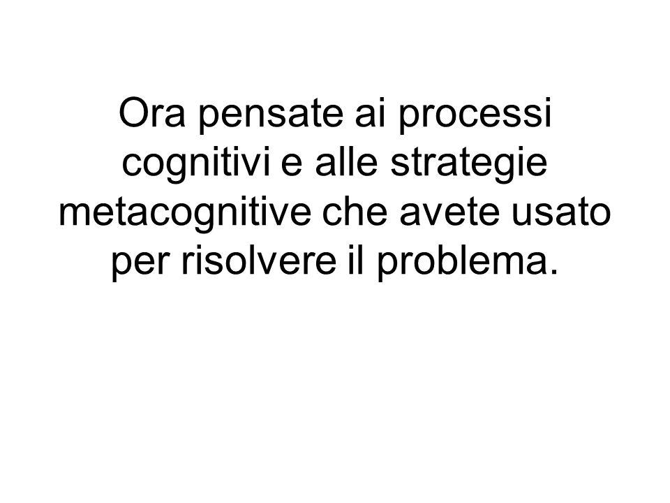 Ora pensate ai processi cognitivi e alle strategie metacognitive che avete usato per risolvere il problema.