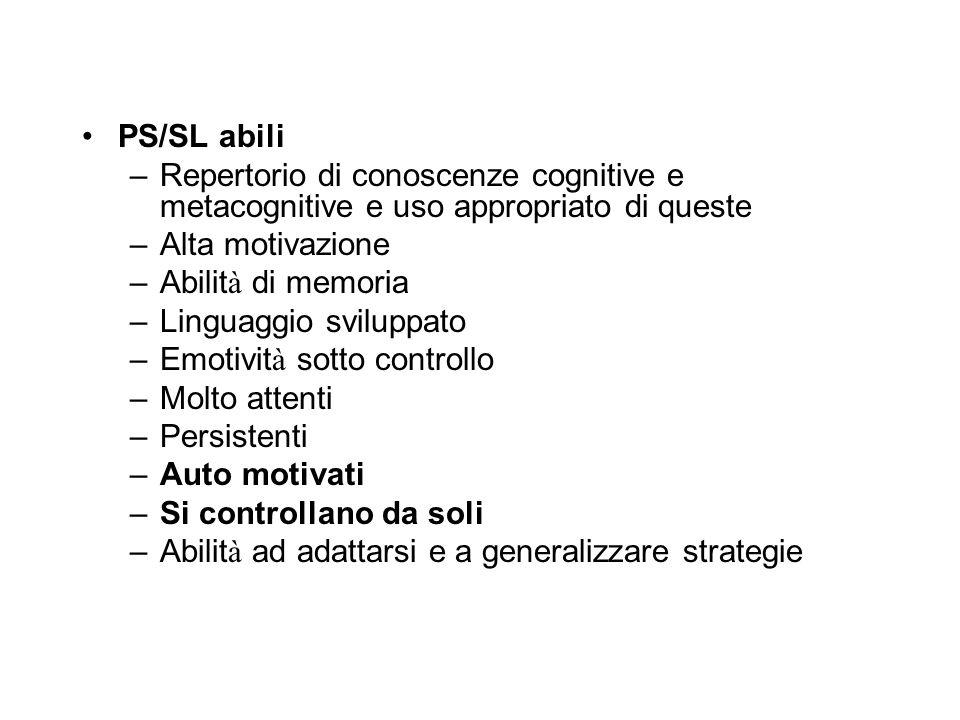 PS/SL abili Repertorio di conoscenze cognitive e metacognitive e uso appropriato di queste. Alta motivazione.