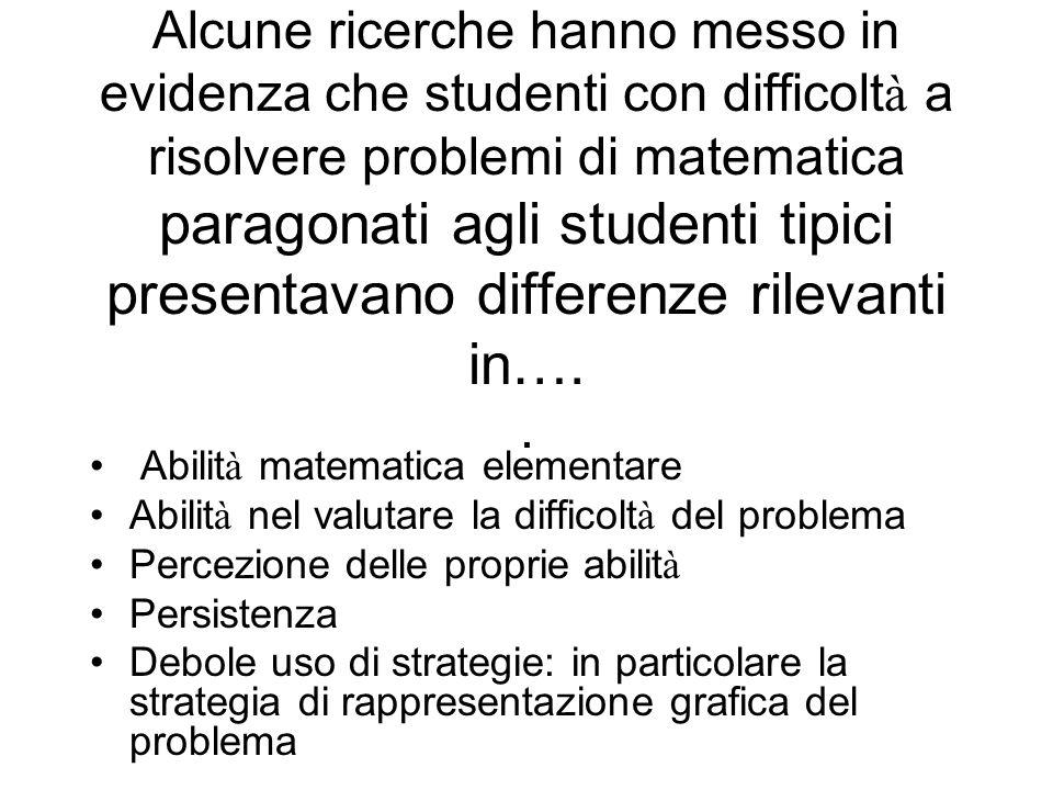 Alcune ricerche hanno messo in evidenza che studenti con difficoltà a risolvere problemi di matematica paragonati agli studenti tipici presentavano differenze rilevanti in…. .
