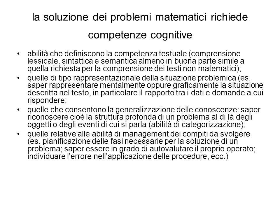 la soluzione dei problemi matematici richiede competenze cognitive
