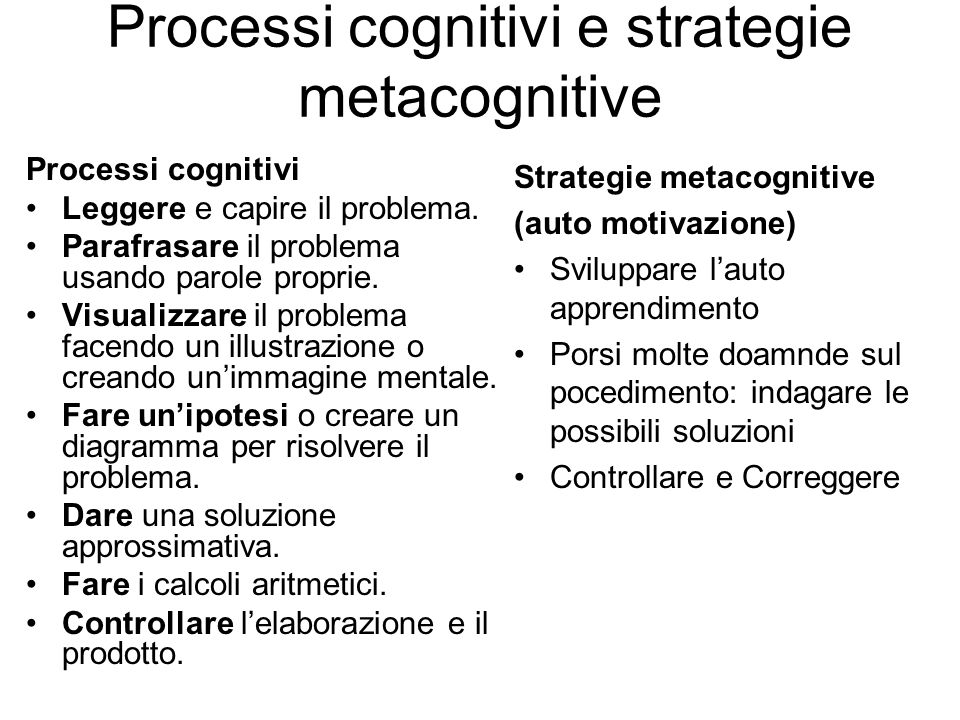 Processi cognitivi e strategie metacognitive