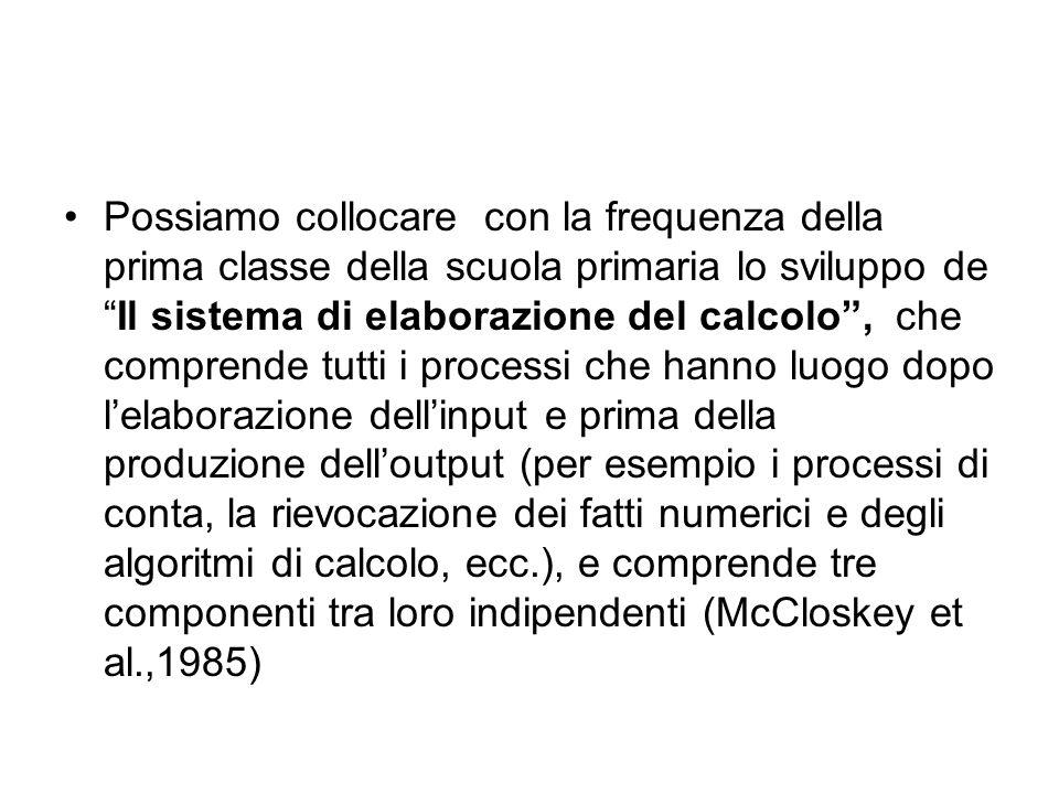 Possiamo collocare con la frequenza della prima classe della scuola primaria lo sviluppo de Il sistema di elaborazione del calcolo , che comprende tutti i processi che hanno luogo dopo l'elaborazione dell'input e prima della produzione dell'output (per esempio i processi di conta, la rievocazione dei fatti numerici e degli algoritmi di calcolo, ecc.), e comprende tre componenti tra loro indipendenti (McCloskey et al.,1985)